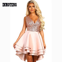 INMOTENG Heart Broken Black/Pink Gold Sequin Multi Layer Skater Dress Women Sexy V Neck Sleeveless A line Party Mini Dresses