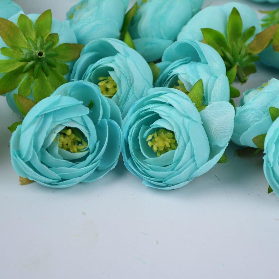 Tiffany Blue Fabric Tea Rose Buds High Quality Artificial Silk