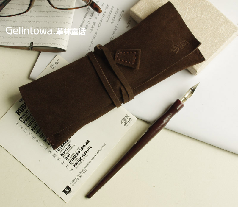 Free shipping Customized LOGO printed pencil bag pure leather handmade large capacity creative pencil cases цена 2017