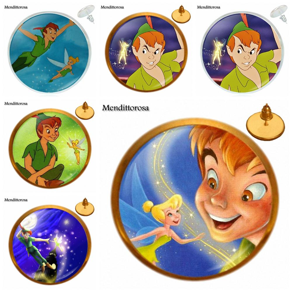 Peter Pan and Tinkerbell Bronze/Silver/Golden Clip Ear Hook Stud Earring Cartoon Jewelry For Men Women Party Gift