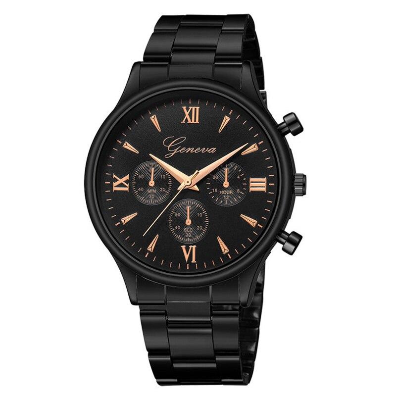 Luxo preto pulseira relógios de quartzo moda masculina casual vestido relógio de pulso genebra homem senhoras reloj mujer hombre 2021