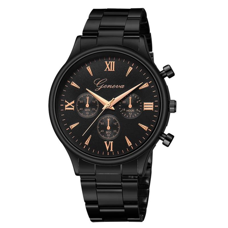 Роскошный черный браслет Кварцевые часы для женщин и мужчин модные повседневные платья Наручные часы Женева мужские женские часы Reloj Mujer ...