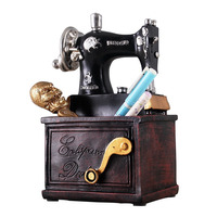 Classic Retro Sewing Machine Model Pen Holder Resin Sewing Machine Miniatures Bar Coffee Home Decor Old Furniture Creative Gifts
