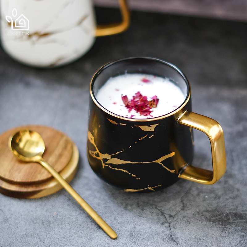 Entertime Nordic Style Marble matte gold series ceramic tea cup coffee mug with wooden lid or tray 50mk023 in Mugs from Home Garden