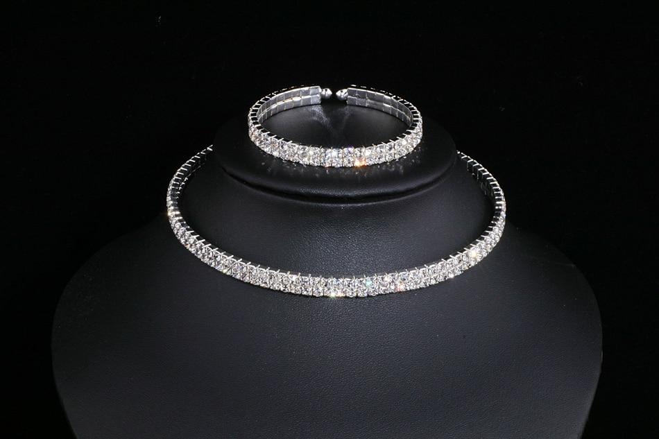 IMG_4812 - Classique, élégant Gland Cristal, Collier De Mariage, Boucles D'oreilles,