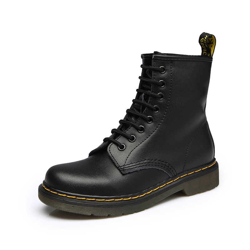 2018 Dr Martins Men Boots Winter Military Black Boots Men Shoes Leather Mid-calf Lace-up Round Toe High Quality Size 35-44