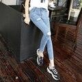 A nova primavera e verão 2016 mulheres Coreanas finas desgastados pés estiramento calças lápis slim calças jeans femininas