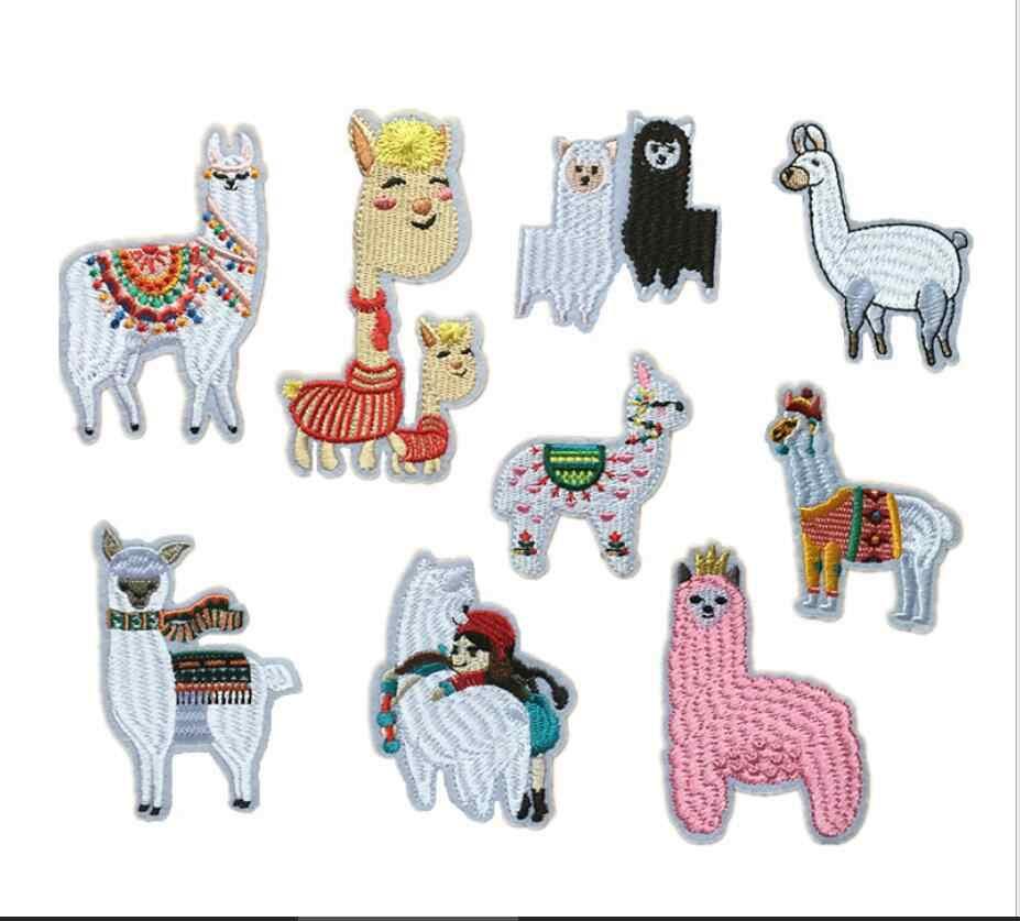 Милый Альпака железа на заплатках вышитые ткани аппликация значок детей животных рисунок из мультфильма ребенка DIY аксессуар