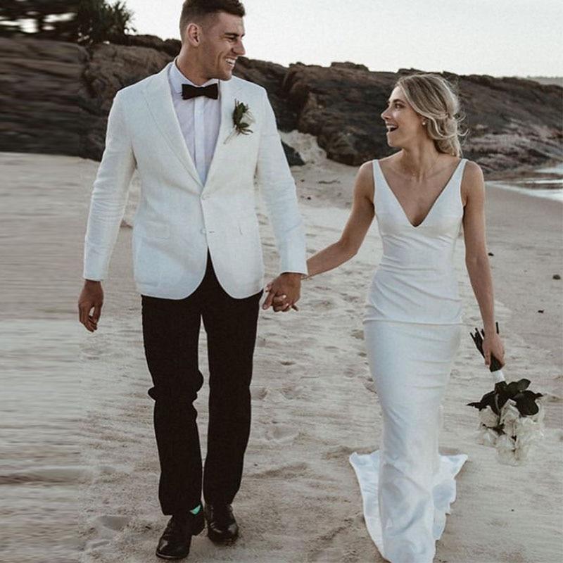 Sexy Beach V-neck Wedding Dresses Sleeveless Mermaid Style White Ivory Satin Bridal Dress Vestido De Noiva Backless Robe Mariee