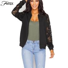 Lace Sleeve Women Basic Coats Long Sleeve Lace Patchwork Transparent Zipper Casual Slim Jacket