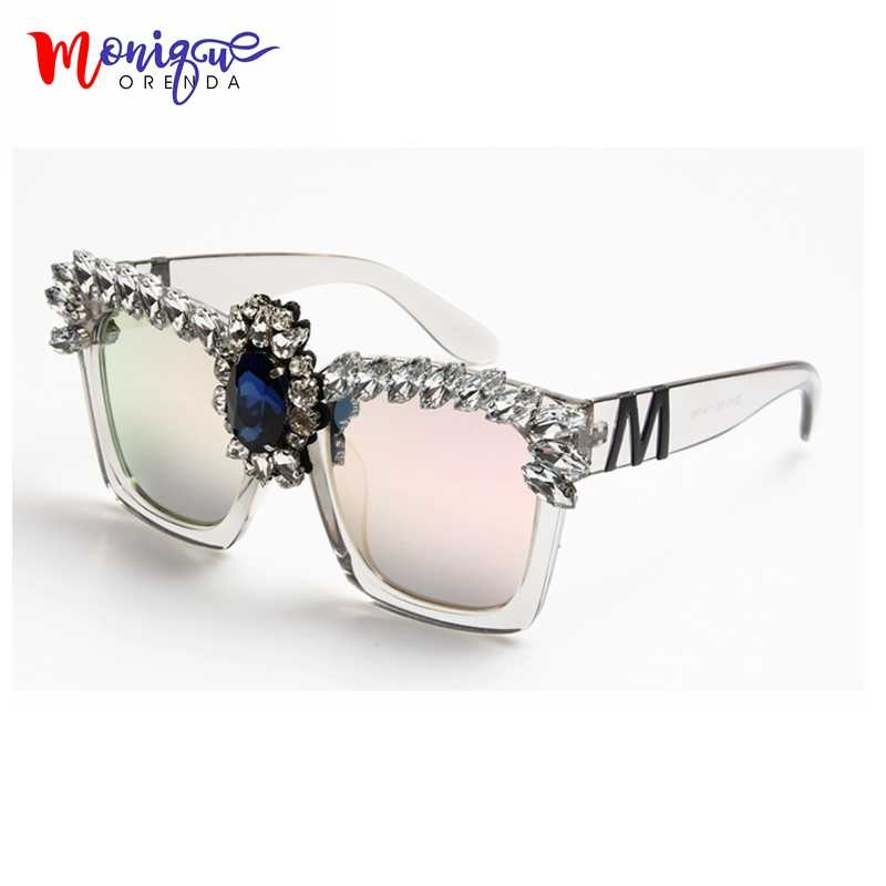 2017  Fashion  Sunglasses Women Bling Rhinestones Oversize Square Sunglasses Brand Designer Vintage Shades Ladies