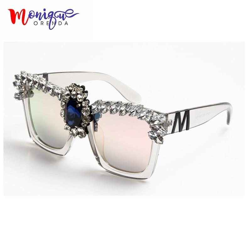 2017 Fashion Sunglasses Women Bling Rhinestones Oversize Square Sunglasses Brand Designer Vintage Shades Ladies ...