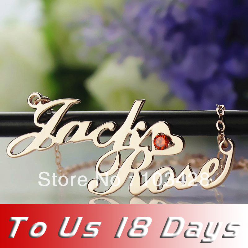 Freeshipping Any Personalised Two Names Necklaces In Rose Gold With Birthday Stone Up To 18 Letters