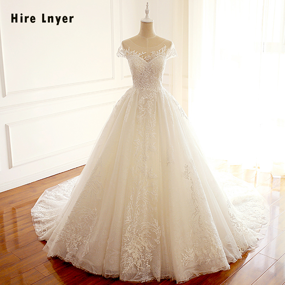 HIRE LNYER Sexy Backless Short Sleeve Lace Princess Ball Gown Wedding Dresses With Petticoat 2019 Vestido