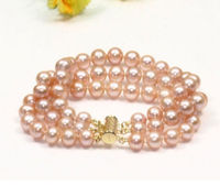 Charming 3 strands 8 9mm south sea pink pearl bracelet 7.5 8 14k gold clasp ^^^@^Noble style Natural Fine jewe SHIPPING