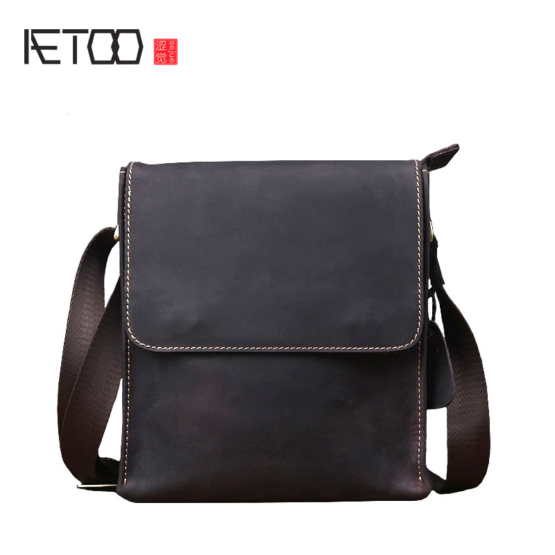 AETOO Crazy horse leather men's bag handmade retro cowhide package men casual leather shoulder bag Messenger bag aetoo crazy horse skin male package leisure retro guangzhou leather men bag vertical shoulder bag oblique package men s small ba