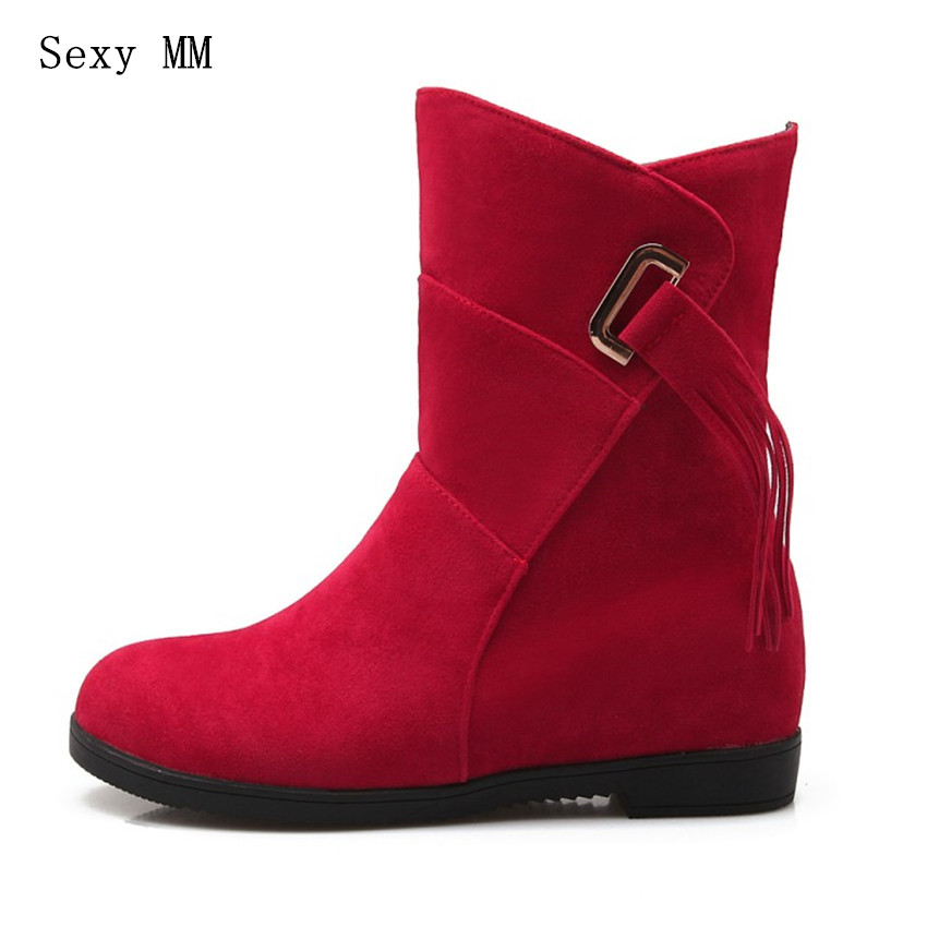 High Quality Spring Autumn Winter Wedges Height Increasing Ankle Boots Women Shoes Short Boots botas Plus Size 34-40.41,42,43