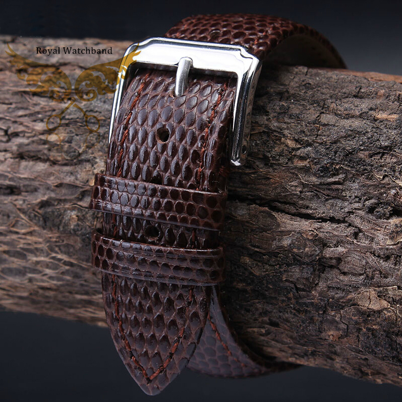 18mm 20mm 22mm 24mm Brown MAN New Top Grade Lizard pattern Genuine Leather Watch BAND Strap