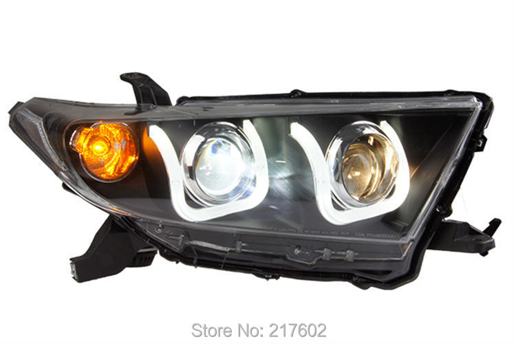 for Toyota Highlander Head lamps with U style Angel eyes 2012-2014 V2 LF