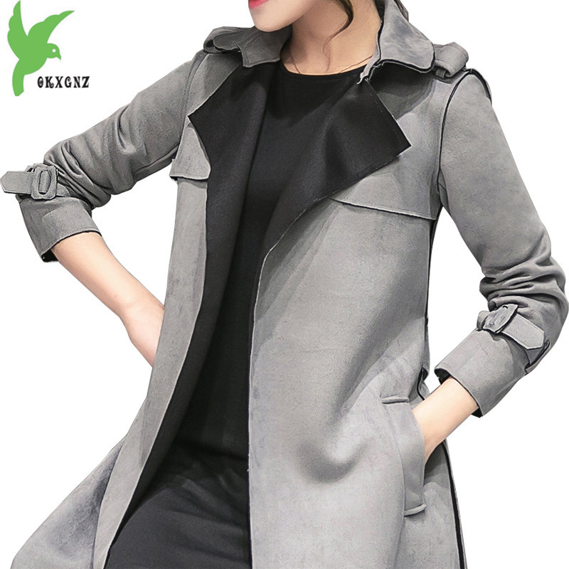 Chamois suede   trench   coat for Women 2018 spring Fashion plus size Windbreaker coat Slim female autumn   trench   overcoat OKXGNZ1775