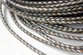 3mm Round Woven Braided Bolo Silver Leather Cords QTY 1 Yard