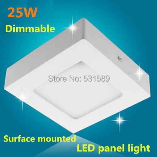 Диммируемая квадратная Светодиодная потолочная панель, светильник 25 Вт, монтируемая на поверхности панель, светодиодная лампа AC85 265V, белая ...