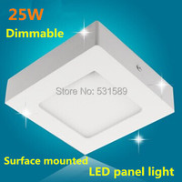 Dimmable Square led ceiling panel light 25W Surface mounted panel led lamp AC85 265V white or warm white led outdoor lamp