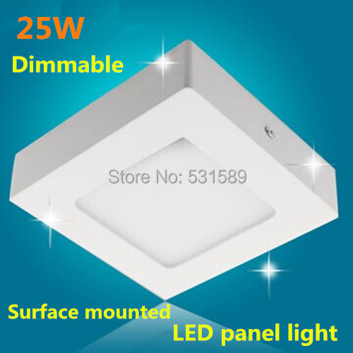 Dimmable  Square led ceiling panel light 25W Surface mounted panel led lamp AC85-265V white or warm white led outdoor lamp kinfire square shaped 15w 1320lm 75 smd 3528 led white light ceiling lamp w driver ac 85 265v