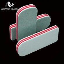 4PCS Buffer Buffing Sanding Files 2 Ways Shiner  Acrylic Pedicure Manicure Polish Nail Buffer Buffing Block File With Red Foam