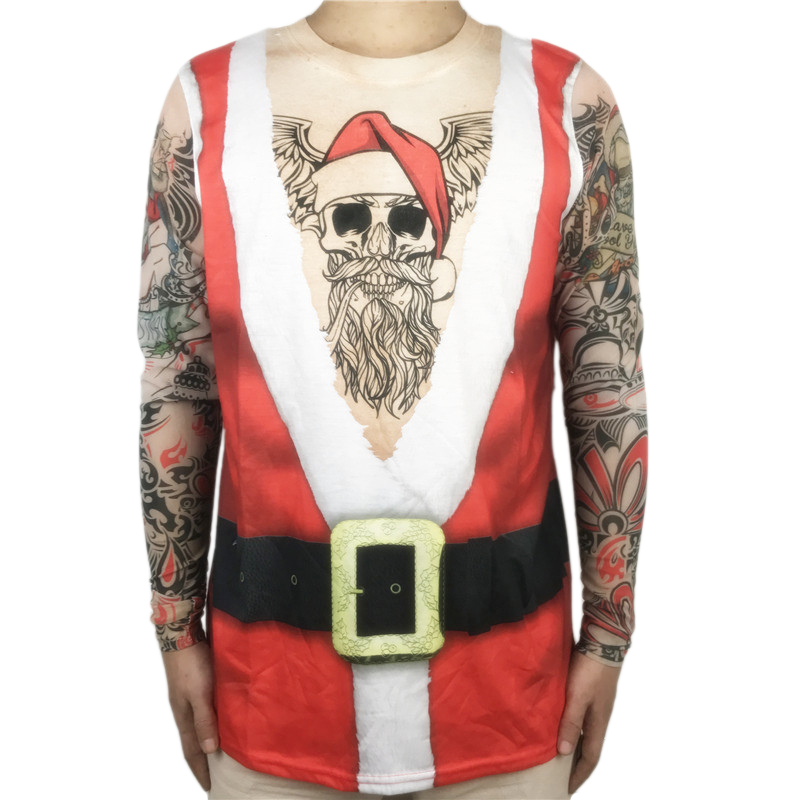 Tacky Bearded Santa Claus Ugly Christmas T Shirt for Men Long Sleeve Shirts Funny Tattoo Xmas Tee Plus Size