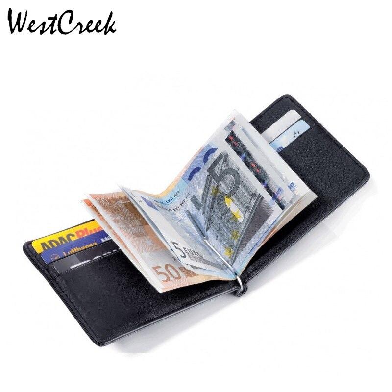 Men Wallets Split Leather Purse Man Money Clip Wallet and Clamp for Money