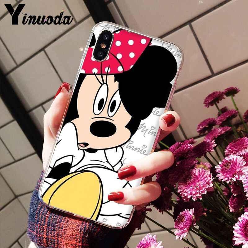 Yinuoda Bonito Dos Desenhos Animados Mickey Minnie Caso de Telefone TPU Macio Silicone Transparente para Apple iPhone 8 7 6 6S Plus X XS MAX 5 5S SE XR