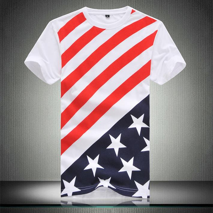 fda45bb0f21 Mens Brand USA American Flag Printed Swag Cotton T Shirts Fashion Summer  2015 Fitness Short Sleeve Plus Size Slim Fit Tee Shirts-in T-Shirts from  Men s ...