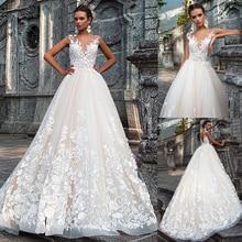 Stunning Jewel Ausschnitt A linie Brautkleider Mit 3D Spitze Appliques Brautkleider vestidos de novia