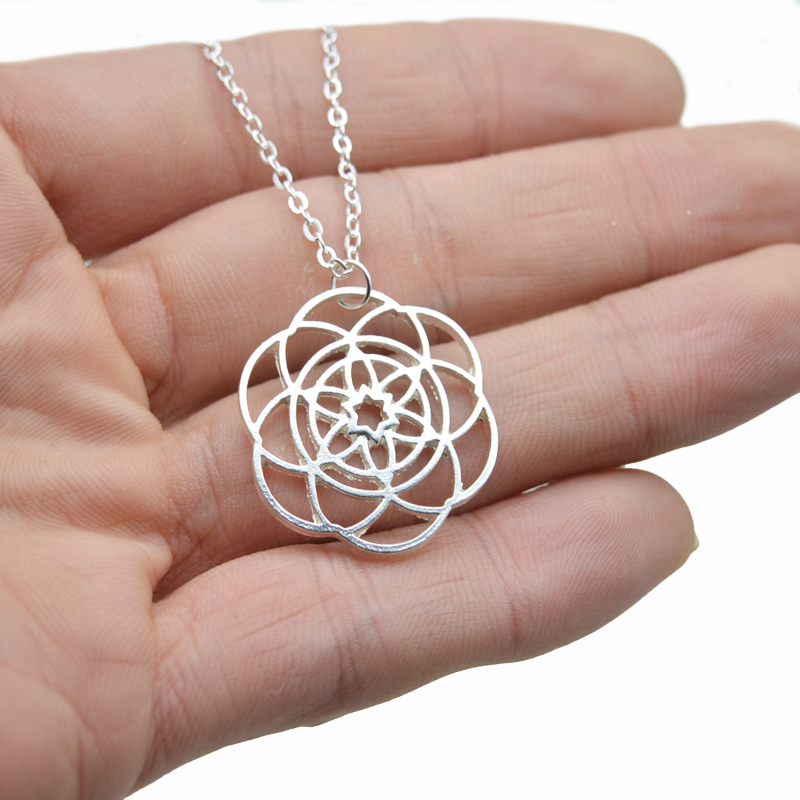 1pcs silver flower of life necklace moola mantra flower pendant for 10pcs 28mm flower of life pendant sacred geometry pendant silver yoga spirit jewelry ct222 mozeypictures Gallery