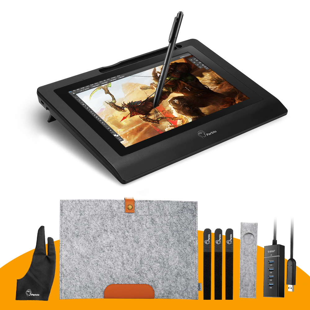 Parblo Coast10 10.1 IPS Graphic Drawing Tablet LCD Display Monitor+ Battery-free Pen+ Two-Finger Glove+ Wool Liner Bag+ Nibs ugee ug2150 21 5 inch graphic drawing monitor stylus pen display graphic tablet with screen ips panel for macbook imac windows