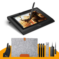 Parblo Coast10 10.1 IPS Graphic Drawing Tablet LCD Display Monitor+ Battery free Pen+ Two Finger Glove+ Wool Liner Bag+ Nibs