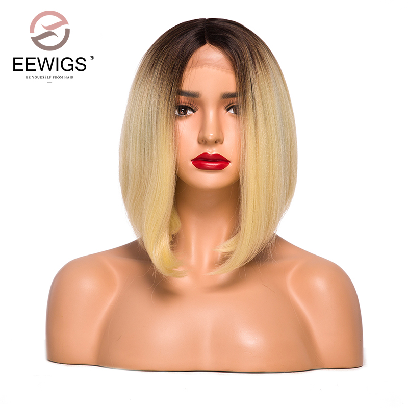 Synthetic Lace Front Wigs Short Bob Straight Wig Golden Blonde Color Ombre Wig Brown Roots Fiber Hair Lace Wigs Middle Part