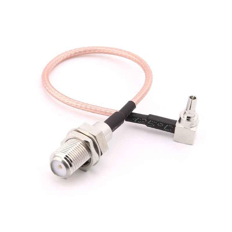 Conector hembra tipo F a CRC9 macho ángulo recto Cable en espiral RG316 15cm para módem
