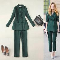 Solid color large size women's spring new olive green slim double breasted long suit + pants suit fashion