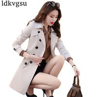 6XL 2018 Spring Autumn Brand Casual Trench Coat For Women Plus Size Long Double breasted Slim Windbreaker Outerwear Coats A753
