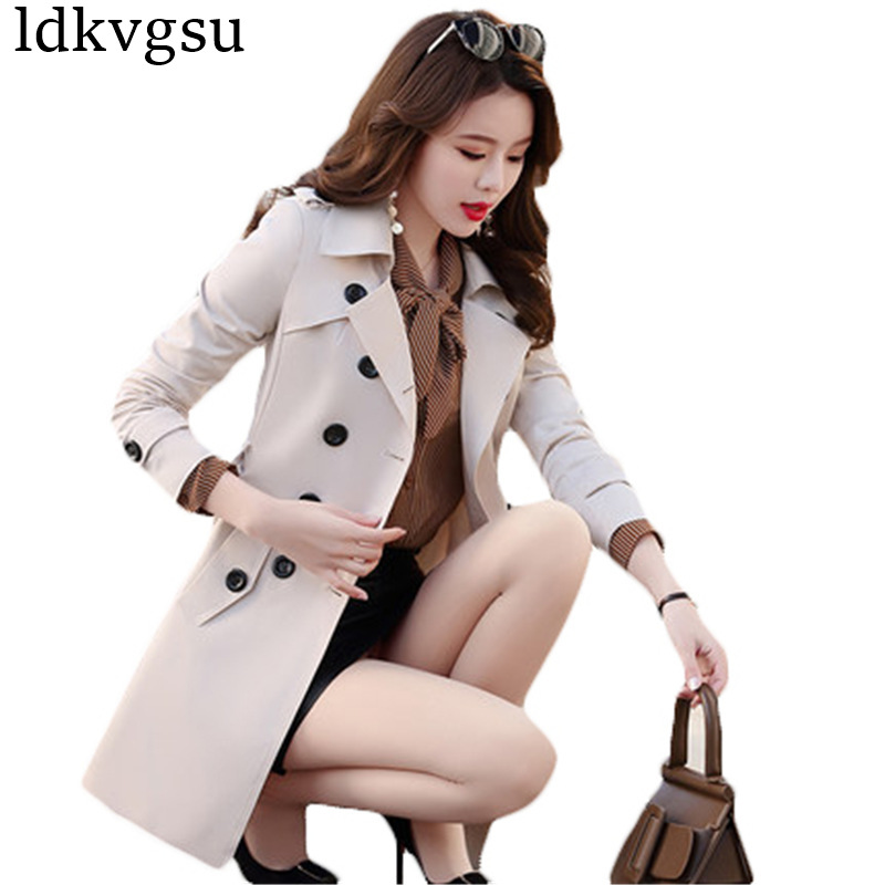 6XL 2019 Spring Autumn Brand Casual   Trench   Coat For Women Plus Size Long Double breasted Slim Windbreaker Outerwear Coats A753