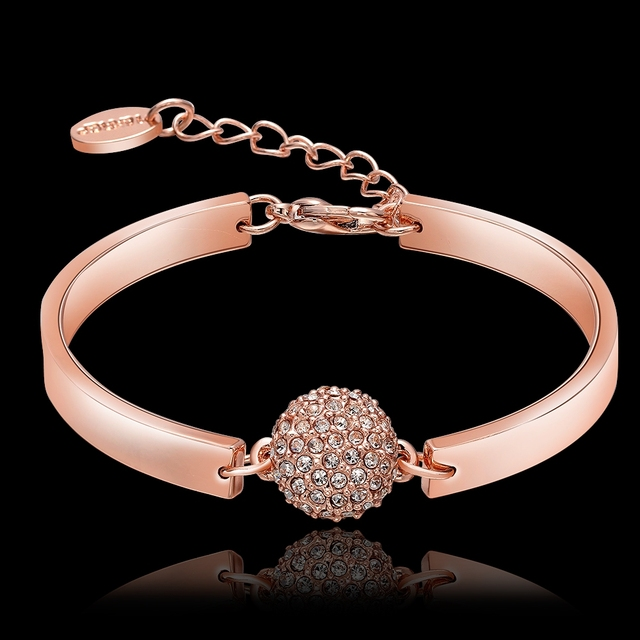 Charms bangle Rose gold plated Rhinestone armband pour les femmes jewelry adjustable cuff bracelet for women Trendy schmuck gift