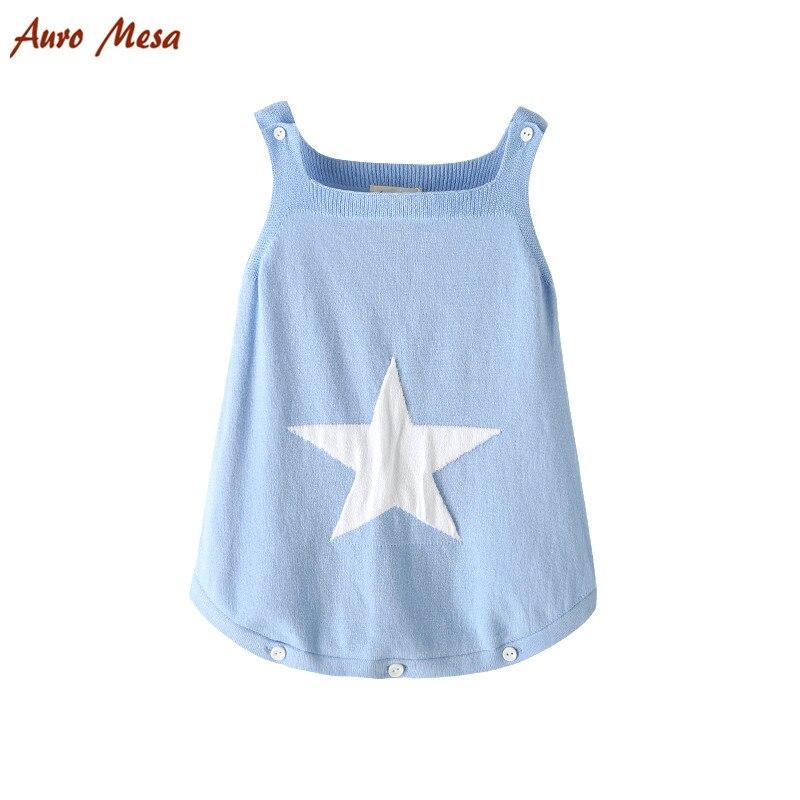 AuroMesa Newborn Baby Knitting Clothes Sleeveless baby bodysuits Knitted Star Cotton Baby Jumper Blue