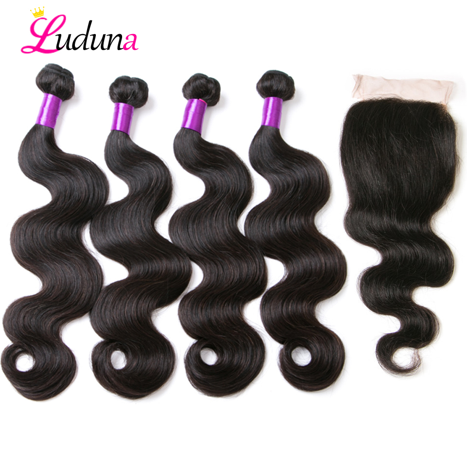 Ludana 4 Bundles with Closure Body Wave Hair Bundles with Closure Human Hair Weaving with Closure Brazilian Remy Hair Extensions
