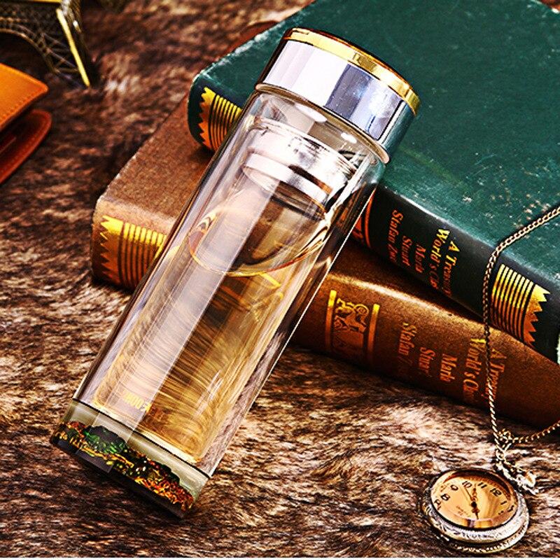 Breve Bottiglia di Acqua Bicchieri Addensare di Alta Vetro Borosilicato A Doppia Parete Bottiglia di Vetro con Tè Infusore 320 ml Regalo Creativo