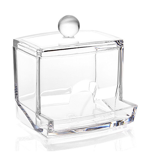 Clear Useful Cotton Swab Q-Tip Storage Box Holder Cosmetic Makeup Case Tidy Tool