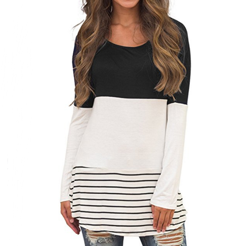 Round neck patchwork stripes long sleeve t shirts and sell