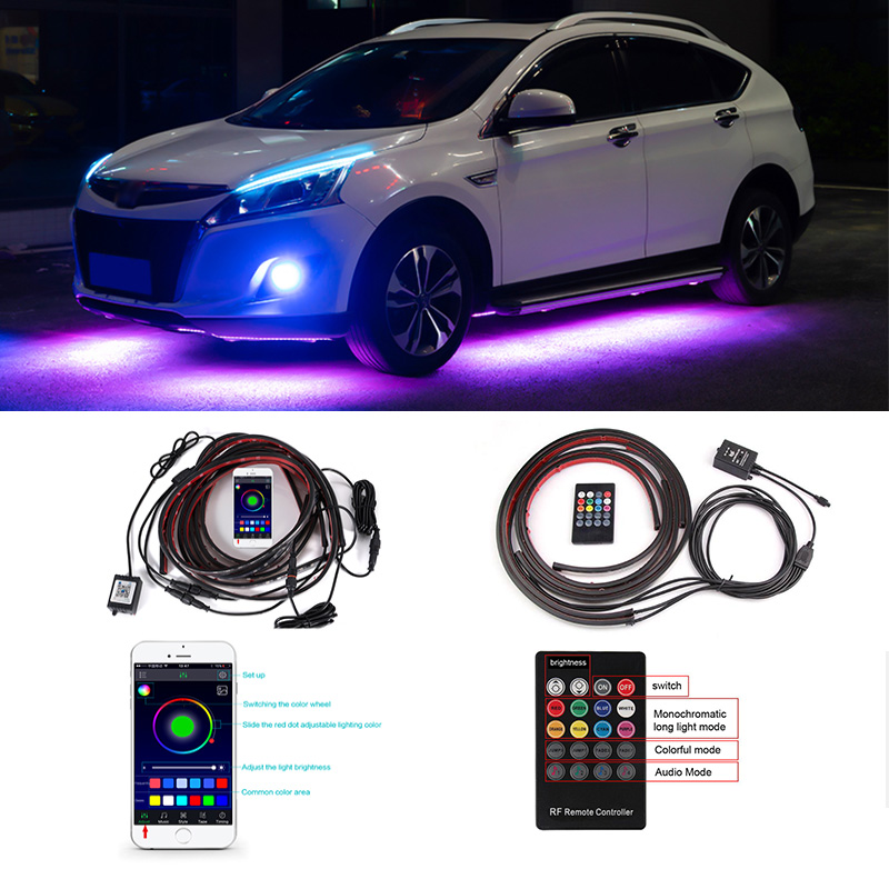 4pcs Car Underglow Flexible Strip LED Remote /APP Control RGB Decorative Atmosphere Lamp Underglow Underbody System Neon Light