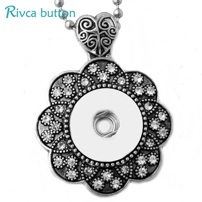Rose Necklace Female's Sweater Fit 18mm Rivca Snap Button Retro Pendant Necklace Accessory Gifts Snap Button Jewelry Mixed style